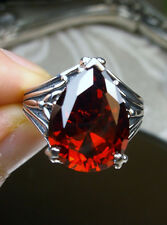 7ct Tear Drop *Red Garnet* Gothic Filigree Sterling Silver Ring (Made To Order)