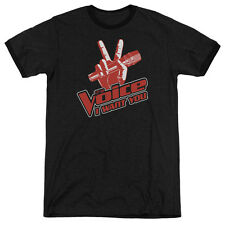 Voice Red And White Mens Adult Heather Ringer Shirt Black