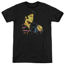 Elvis Presley Neon Elvis Presley Mens Adult Heather Ringer Shirt Black
