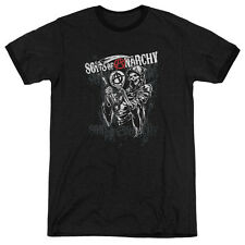 Sons Of Anarchy Reaper Logo Mens Adult Heather Ringer Shirt Black