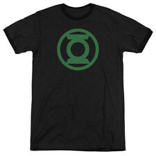 Green Lantern Green Emblem Mens Adult Heather Ringer Shirt Black