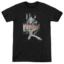 Elvis Presley Las Vegas Mens Adult Heather Ringer Shirt Black