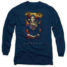 Supergirl Standing Symbol Mens Long Sleeve Shirt Navy