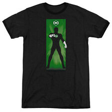 DC Comics Green Lantern Block Mens Adult Heather Ringer Shirt Black