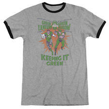 Green Lantern Keeping It Green Mens Adult Heather Ringer Shirt Heather/Black