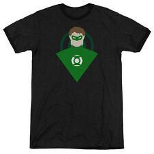 DC Comics Simple Green Lantern Mens Adult Heather Ringer Shirt Black