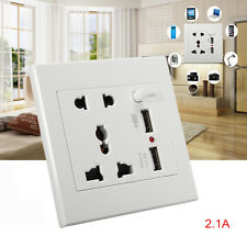 Dual USB Wall Socket Charger AC/DC Home Power Adapter Plug in Outlet Plate Panel