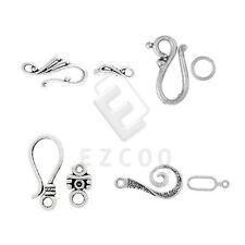 30-60pcs DIY Lots Tibetan Silver Hook & Eye Clasp for Jewelry Making 4 Style YB