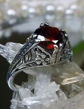 Art Deco Floral *Red Garnet* Sterling Silver Filigree Ring Size: {Made To Order}