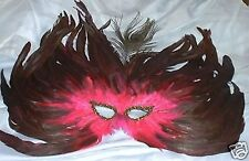 Peacock Flame Feather Mask Masquerade Costume Ball Pink Green Purple