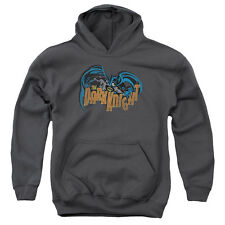 Batman Retro Dark Knight Big Boys Youth Pullover Hoodie Charcoal