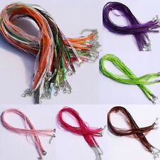5/20/50/100Pcs Lots Organza Ribbon Waxen Cord Chain Clasp Lobster Necklaces DIY