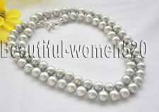 Z7102 12mm gray round Freshwater Cultured pearl necklace 33inch