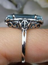 7ct Baguette*Aquamarine* Sterling Silver Gothic Swirl Filigree Ring Size Any/MTO