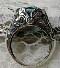5ct *Aquamarine* Solid Sterling Silver Leaf Ivy Filigree Ring (MTO/New) Size Any