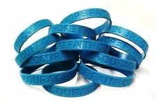 Teal Awareness Bracelets 100 Piece Lot Silicone Wristband Jelly Cancer Cause New