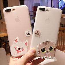 Cute Cartoon Candy Cat Dog Matte Soft Silicone Case Cover for iPhone 7 7 Plus 6S
