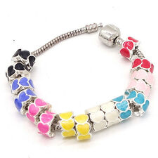 3pcs Silver heart European Charm Beads Fit Necklace Bracelet SD103