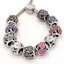 3pcs Silver Flowers European Charm Beads Fit Necklace Bracelet DIY #28