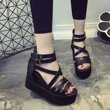 New Fashion Women Strappy Buckle Platform Sandals Wedge Shoes Peep Toe Summer