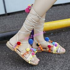 Womens Thong Flip Flops POM POM Sandals Sweet Floral Strappy Leather Shoes NEW