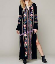 Womens Ethnic Boho Embroidered Floral Beach Maxi Dress Long Sleeve split skirt