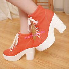 Womens Canvas Lace Up High Block Heels Platform Punk Riding Ankle Boots Shoes