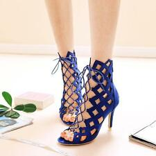Gladiator Women Ankle Boots Pump Hollow Out Open Toe Stiletto High Heels Sandal
