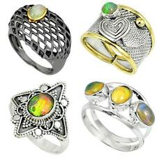 Natural ethiopian opal 925 sterling silver ring jewelry by jewelexi 5079A