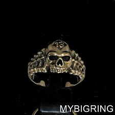 LUCKY NUMBER 13 BRONZE MENS BIKER BAND RING RIPPER SKULL AND BONES ANY SIZE