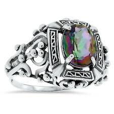 HYDRO MYSTIC QUARTZ 925 STERLING SILVER ANTIQUE VICTORIAN STYLE RING,      #75