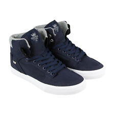 Supra Vaider Mens Blue Canvas High Top Lace Up Sneakers Shoes