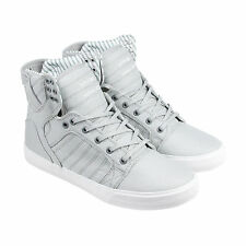 Supra Skytop Mens Grey Canvas High Top Lace Up Sneakers Shoes