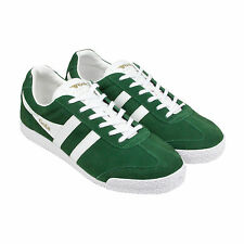 Gola Harrier Suede Mens Green Suede Lace Up Trainers Shoes