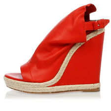 BALENCIAGA New Woman Red Leather Wedge Shoes Sandals Made in Italy