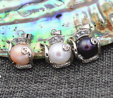 Charming black white pink Baroque Pearl Pendant Necklace 18KGP
