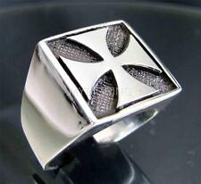 SILVER BIKER SIGNET RING IRON CROSS TEUTONIC KNIGHT CHOPPER ANTIQUED ANY SIZE