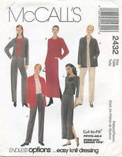 McCalls 2432 Misses Knit Jacket Top Pants Skirt Sewing Pattern
