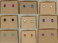 NEW My Style Crystal Stone Solitaire Fashion Pierced Earrings Studs 9 Colors