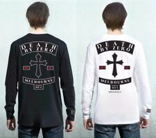 Death By Zero MC Long Sleeve Cotton Crew T-Shirt Black or White 50% Off