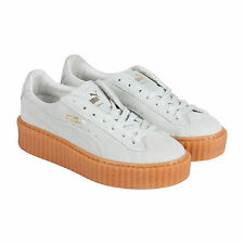 Puma Suede Rihanna Fenty Creepers Womens White Suede Lace Up Sneakers Shoes