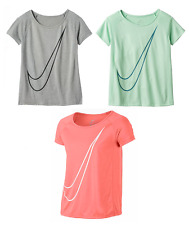 NEW - Girls Nike Dri-FIT Raglan Swoosh Nike Logo Active Tee - Pick Size & Color