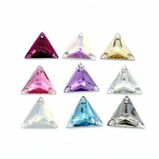 Wholesale 50pcs Sew On Resin Rhinestones Triangle Stone Buttons beads DIY 16mm