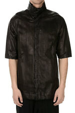 RICK OWENS New Ma Python Black Shirt in Leather Short Sleeves Made in Italy NWT
