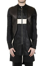 RICK OWENS New Man Cotton FRACTURED Long Jacket Leather Detail Made in Italy