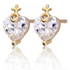 14K Yellow Gold Plated Rhinestone Love Heart Promise Stud Earrings Multicolor