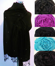 HERE ONLY Crystal Diamante Sparkle Star Pashmina Scarf Wrap Pink Black Blue GIFT