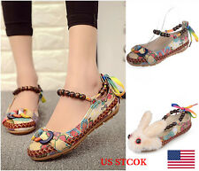 US Women Lady Buckle/Rabbit Retro Flats Oxfords Beaded Woven Cloth Shoes Loafer