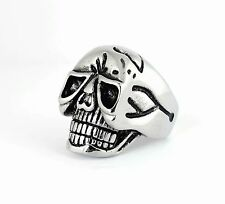 Men Biker Motorcycle Heavy Metal NEW Stainless Steel Alien Skull Ring Sz 9-16