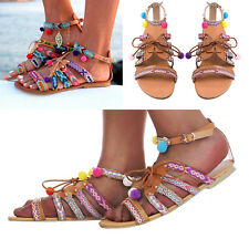 Womens Ladies Buckle Strap Flat Lace Up Pom Pom Beach Gladiator Sandals Shoes